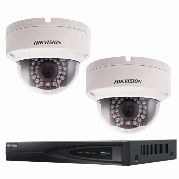 2x Hikvision DS-2CD2142FWD-IWS(2.8mm) 4 MP Dome Überwachungsset